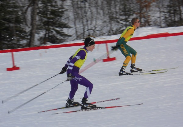 Hampden Academy's Dustin Ramsay pushes hard in the Nordic Eastern High School qualifier race at Titcomb Mountain on Saturday, March 3, 2012. Ramsay qualified for the Eastern High School Nordic Ski Championships.