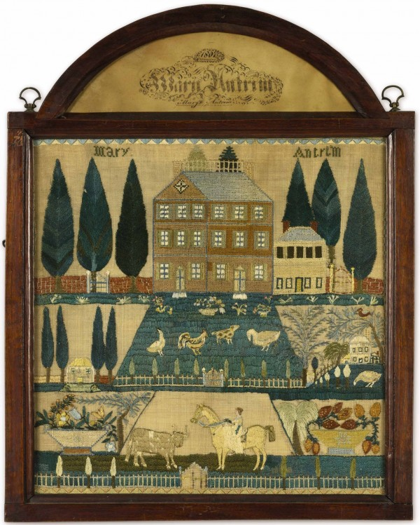 Dated 1807, the needlework sampler by Mary Antrim sold for $1,070,500 recently at Sotheby's New York.