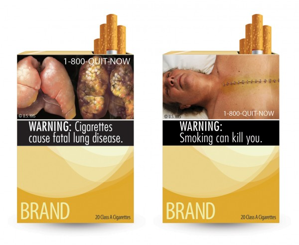 This combination photo made from file images provided by the U.S. Food and Drug Administration shows two of nine cigarette warning labels from the FDA. A judge on Wednesday, Feb. 29, 2012 blocked the federal requirement that would have begun forcing U.S. tobacco companies to put large graphic images on their cigarette packages later this year to show the dangers of smoking and encouraging smokers to quit lighting up.
