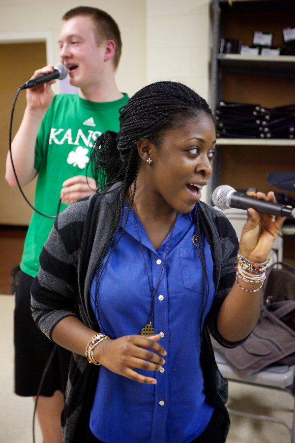 Christian Cilley and Bobbiella Andoh rehearse with the Cheverus High School jazz choir —Soulstice —after school in Portland Monday, March 5, 2012. The group will perform at the Berklee College of Music High School Jazz Festival this weekend.