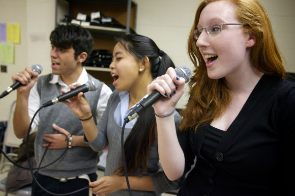 Erin Fitzpatrick (right), Sam SaVaun (center) and Jake Boyce rehearse with the Ceverus High School jazz choir —Soulstice —after school in Portland Monday, March 5, 2012. The group will perform at the Berklee College of Music High School Jazz Festival this weekend. (