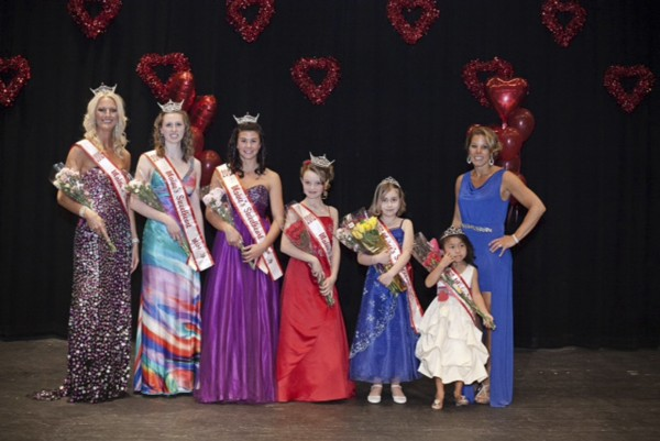 Winners in the Maine's Sweethearts pageant that raised funds for the American Heart Association recently are (from left) Tara Bradstreet of Vassalboro, Kaitlyn Hall of Saco, Drew Graves of Newport, Christen Morrissey of Scarborough, Kiera Knuckles of Saco and Ella Radley of Scarborough. With them (right) is pageant director Jessica Radley of Scarborough.