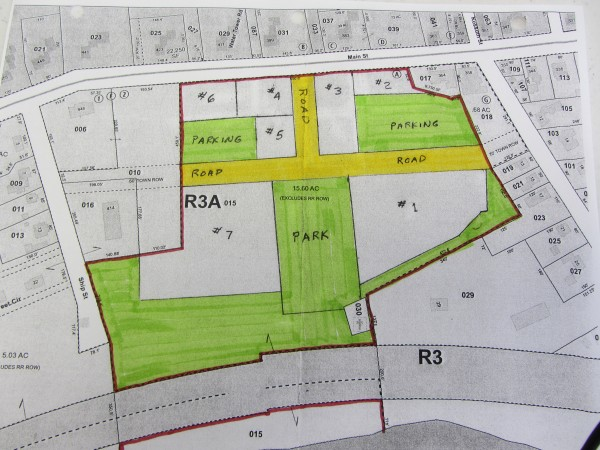 This drawing by the town of Thomaston outlines the proposed eight-lot subdivision for the former Maine State Prison property on Route 1 in Thomaston. Lots 2,4, 5, and 6 are where the town hopes to have commercial or retail businesses locate. Lot 3 would be reserved for a community building. Lots 1 and 7 would be sold for residential development. Route 1 (Main Street) is pictured at the top of the drawing with Wadsworth Street on the right and Ship Street on the left.