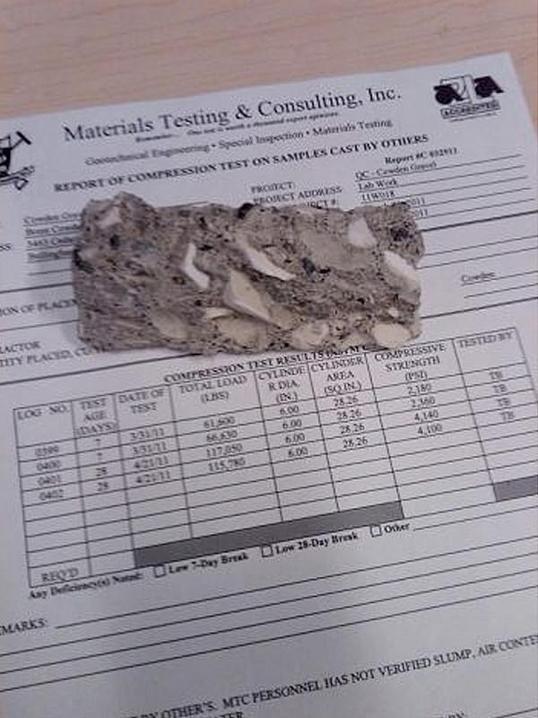 A sample of poticrete, an aggregate of 20 percent crushed toilet porcelain and 80 percent concrete.