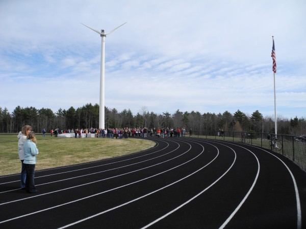A 122-foot-tall wind turbine began generating energy for Camden Hills Regional High School in Rockport last week. So far it has made enough electricity to power six homes for a month. A group of students took eight years to privately fundraise $500,000 and get all the permits for the machine, which they say will save the school about $18,000 a year in energy costs.
