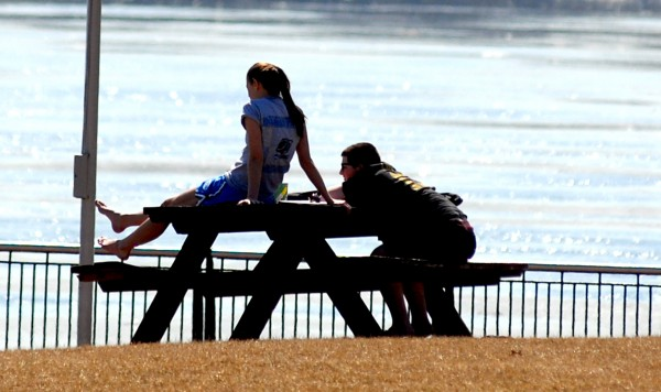 With temperatures in the 70s on the first day of spring, on Wednesday, March, 21, 2012, the Bangor waterfront was a perfect spot to relax in the sun.