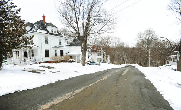 Residents of Winter Street in Bangor have asked the city council to bear the cost of fixing a private water line that causes water to bubble up in driveways and form small ice ponds during winter months. The leak appears to be located under a driveway on the second house on the left as seen on Monday, March 5, 2012.