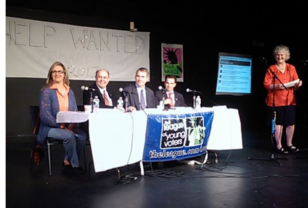 The four Democratic candidates for the U.S. Senate, who will square off against each other in the June primary, gathered Sunday for a forum hosted by the Maine League of Young Voters in Portland. Pictured from left are Cynthia Dill, Matt Dunlap, Jon Hinck and Benjamin Pollard. At far right is moderator Suzanne Murphy.
