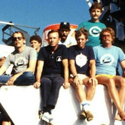 The Woods Hole Oceanographic Institution's return expedition to the Titanic site in July 1986 was another team effort. More than 50 people spent nearly three weeks at sea and countless more support staff worked ashore before, during and after the expedition. John Salzig of Ellsworth (third from left) was one of the sub pilots on the mission.