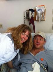 Peter recovering from cancer surgery at Brigham & Women's hospital.