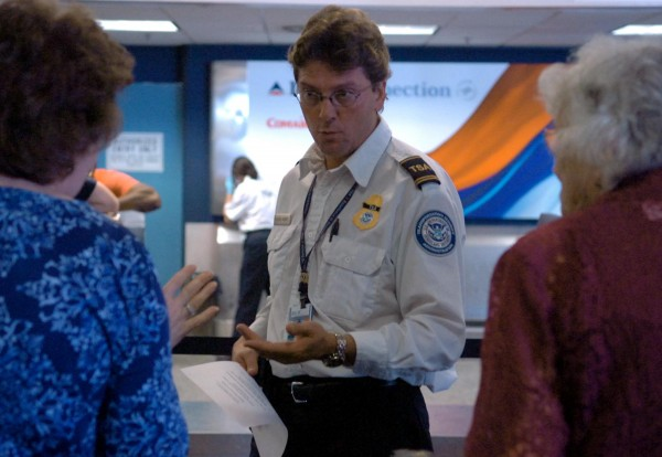 A TSA agent at Bangor Internal Airport.