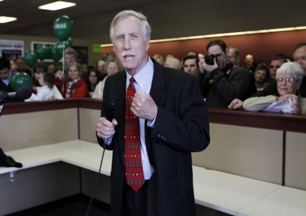 Angus King, Independent candidate for the U. S. Senate, speaks to supporters as he officially opens his campaign office in Brunswick on Monday.