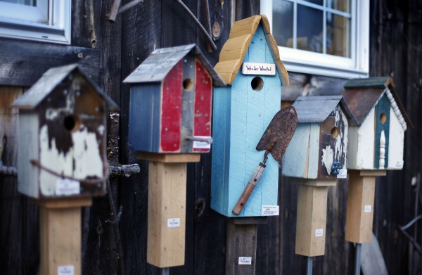 Weathered wood and salvaged tools add to the uniqueness of Tony DiPietro's birdhouses.