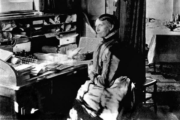 Clara Barton working at her desk in Glen Echo, Md., in 1902. During the Civil War, Barton took it upon herself to raise money to fill warehouses with supplies that she personally delivered to the battlefield.
