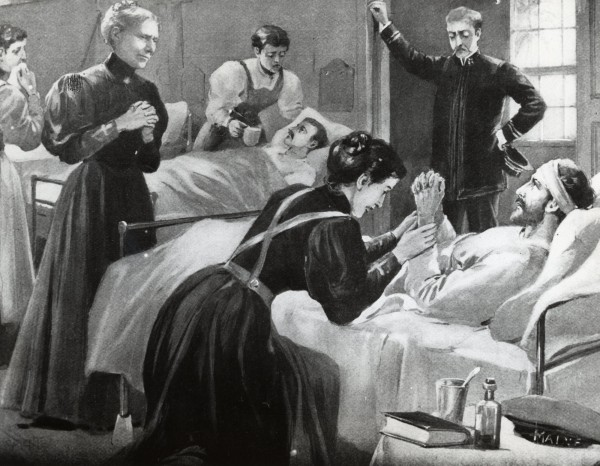 An 1898 painting from the Christian Herald shows Clara Barton (second from left) watching Red Cross nurses at work in a hospital in Cuba during the Spanish-American War.