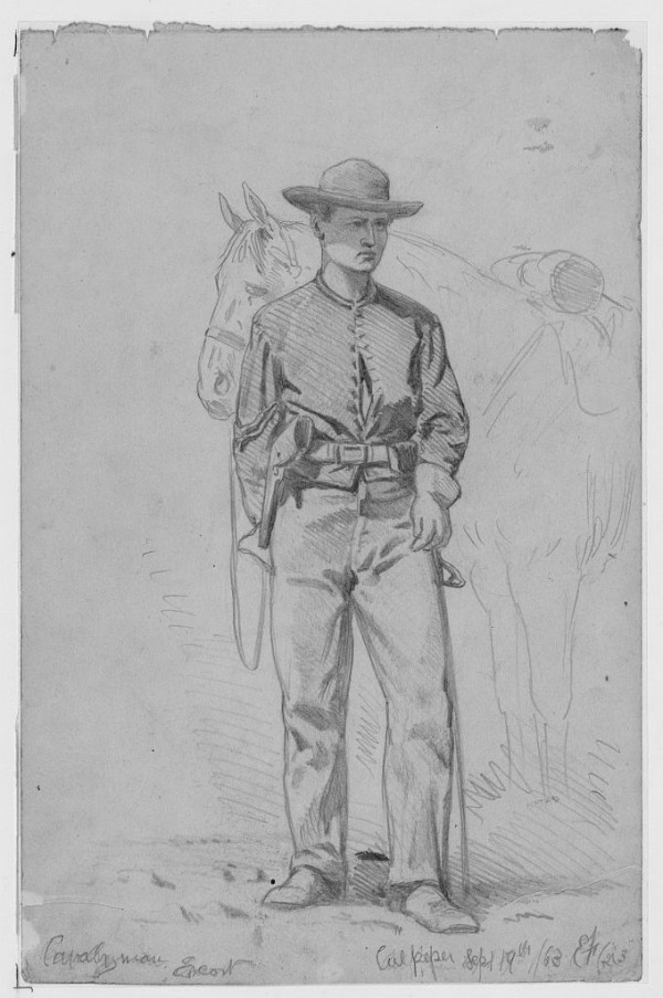When Brig. Gen. James Henry Carleton of Lubec led the California Column from Los Angeles to the Rio Grande River in New Mexico in spring 1862, his expedition included cavalryman dressed and equipped similarly to this troop sketched by Andrew Waud in 1863.