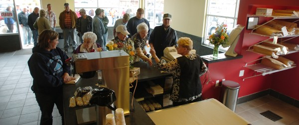 A line extends out the door of the new Coffee Pot Cafe on Broadway in Bangor in April 2010 after the business opened its doors for the first time.