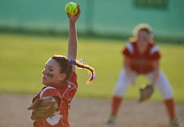 Dexter High School pitcher Libby Kain winds up against Central during last season's Eastern Maine Class C final. Kain helped the Tigers win the title and returns this season to help them defend.