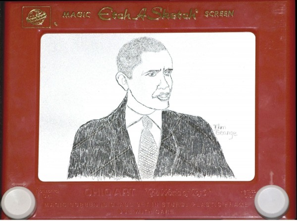 A Nov. 5, 2008 file photo shows an Etch A Sketch portrait of President Barack Obama, that was unveiled as the results of the presidential election were announced. Etch A Sketch is suddenly drawing lots of attention, thanks to a gaffe that has shaken up Mitt Romney's campaign. Ohio Art, the maker of the classic baby boomer toy, says it's sending a big box of Etch A Sketches to the presidential campaigns to say thanks for the publicity and a boost in sales.
