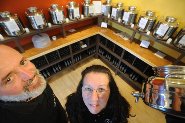 Pat O'Brien (left) and his wife, Nancy O'Brien, owners of  the Fiore Artisan Olive Oil and Vinegar stores in Bar Harbor and Rockland, are seen in November 2010.