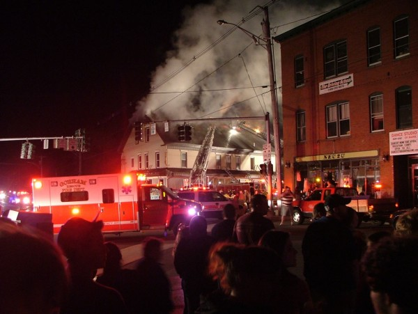 A Thursday night fire damaged a three-story building in Gorham that includes the Gorham House of Pizza, a police dispatcher told the Bangor Daily News on Friday.