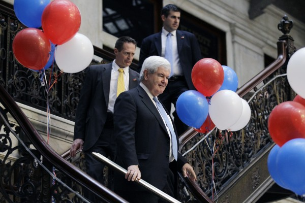 Republican presidential candidate, former House Speaker Newt Gingrich arrives at a campaign stop in Buffalo, N.Y., Friday, April 20, 2012.