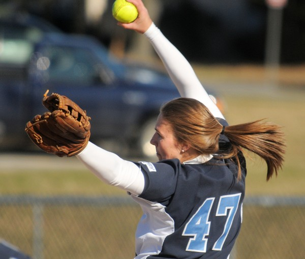 The University of Maine's Ashley Kelley pitches against Husson University in Bangor Tuesday afternoon.  Maine won 9-0.