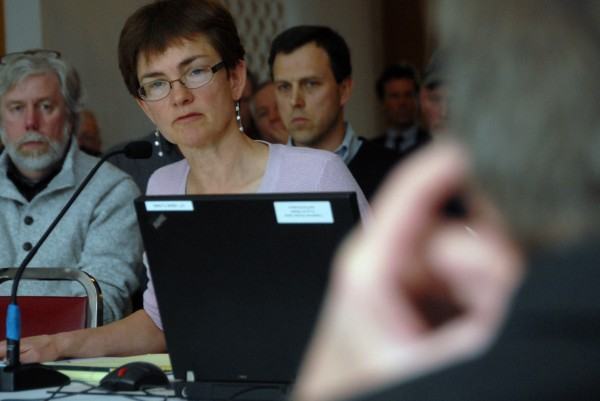 Attorney Juliet T. Browne listens during a LURC hearing in Lincoln on Friday, April 6, 2012.