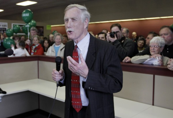 Angus King, independent candidate for the U. S. Senate, speaks to supporters as he officially opens his campaign office in Brunswick, Maine.