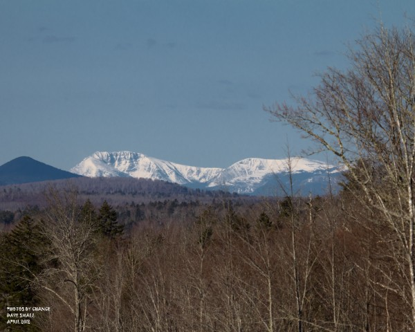 Snow-covered Mount Katahdin.