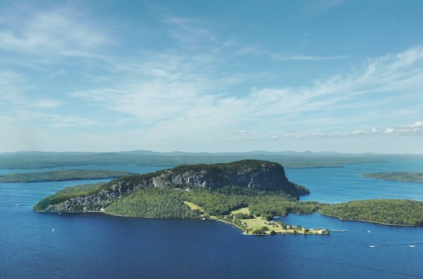 Mount Kineo, which was acquired through the Land for Maine's Future program in 1990, rises out of Moosehead Lake.