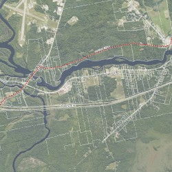 The proposed natural gas pipeline from the Juniper Ridge Landfill to the University of Maine.