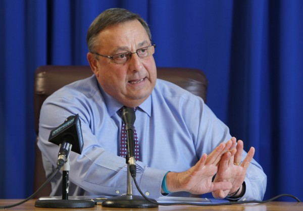 Gov. Paul LePage speaks at a news conference, Thursday, Dec. 15, 2011, at the State House in Augusta.