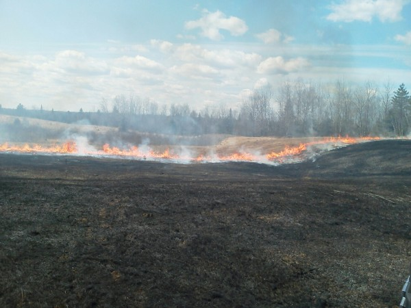 Maine Forest Service Rangers at the scene of a wildfire near the town of Medway that, as of Sunday, April 15, 2012, had burned 32 acres of grass, brush and timber.