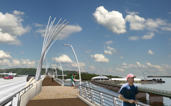This artist's rendering, provided by the Maine Department of Transportation, depicts one of the lighted and stylized pedestrian areas included in the designs for the new $63 million Veterans Memorial Bridge connecting Portland to South Portland.
