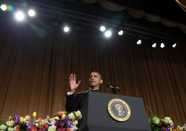 President Barack Obama speaks at the White House Correspondents' Association Dinner,  Saturday, April 28, 2012 in Washington.