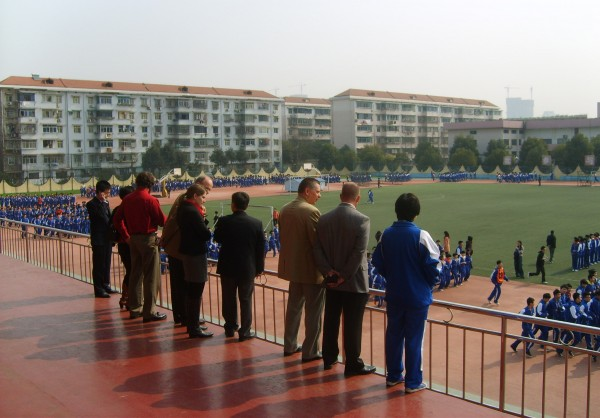 A delegation from Orono High School watches a morning physical education class at the high school attached to Hunan Normal University in China.
