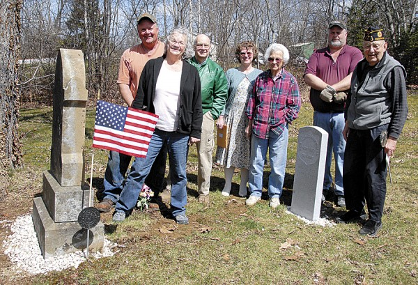 On Saturday, April 14, about a dozen people gathered at Evergreen Cemetery in Orland to dedicate a memorial stone set in place at the grave of George Adams Harriman, a Civil War veteran. Among those attending the ceremony were (from left) Peter Spooner, Alice Clair, Charles Clair, Ethel Soper Lindsey, Lynn Coombs, Emeric Spooner, and Oliva Jacques, chaplain of Bucksport American Legion Post 93.