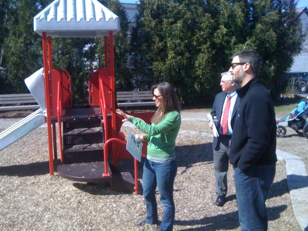 Amy Grommes Pulaski, housing and community development program manager for the city of Portland, describes grant-funded upgrades made at Peppermint Park to City Manager Mark Rees and Seth Parker of Avesta Housing on Friday, April 13, 2012. Pulaski led a walking tour of Bayside neighborhood projects that have — or will soon — benefit from U.S. Housing and Urban Development Department grants.
