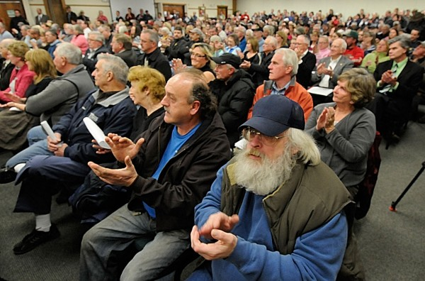 Hundreds of area United Postal Service employees, local leaders and other concerned citizens turned out in January for a public meeting about the USPS plan to close mail processing operations at the processing and distribution plant in Hampden.
