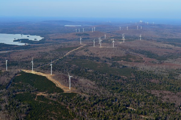 An aerial photo, taken March 18, 2012, of First Wind's wind turbine Rollins Wind project, 8 miles east of Lincoln, Maine.