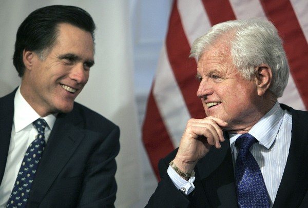 Then-Massachusetts Gov. Mitt Romney (left) talks with Sen. Edward Kennedy, D-Mass., at the Statehouse in Boston. Don't expect Romney to spend a lot of time trying to get voters to like him this fall. Instead, the likely Republican presidential nominee will probably rely on a ton of campaign cash and a barrage of nasty attack ads ripping into President Barack Obama for policies that Romney says aren't helping the economy recover fast enough. Look for Romney to take a more moderate tack, too.