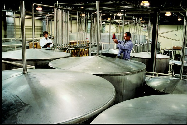 Workers at White Rock Distilleries in Lewiston inspect some of their product in this 2011 file photo. (Photo courtesy White Rock Distilleries)