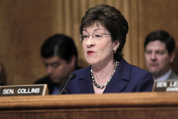 In this March 30, 2011 file photo, Senate Homeland Security and Governmental Affairs Committee ranking Republican Sen. Susan Collins, R-Maine, speaks on Capitol Hill in Washington.