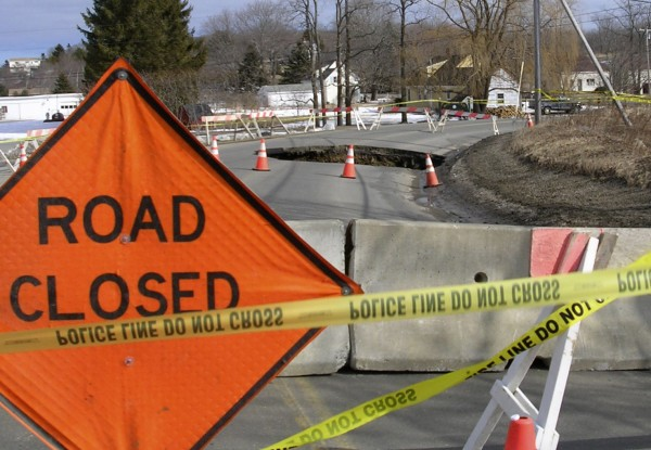 A sinkhole shut down parts of Old County Road in Rockland Tuesday, Feb. 16, 2010.