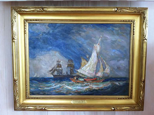 Reynolds Beal, &quotShipping Off Rockport,&quot oil on canvas, 16&quot by 22&quot