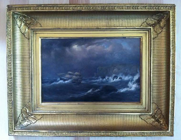 Maurtiz Fredrick Hendrik de Hass, &quotShips on a Rocky Coast in Stormy Seas,&quot oil on canvas, 9.7&quot by 15&quot