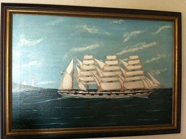 J. Wood, &quotFour-Masted Bark Under Full Sail,&quot oil on canvas, 20&quot by 30&quot