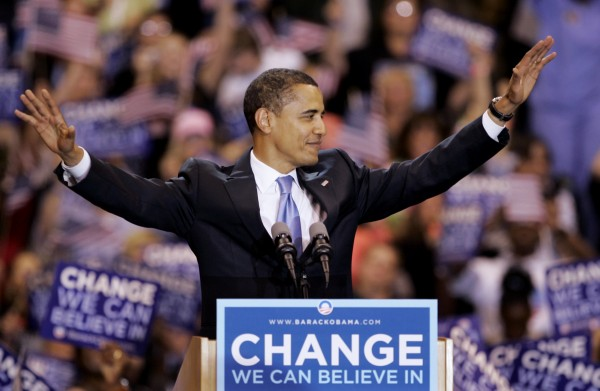 In this June 3, 2008 file photo, then-Democratic presidential candidate, Sen. Barack Obama, D-Ill., waves to supporters before speaking at a primary night rally in St. Paul, Minn.