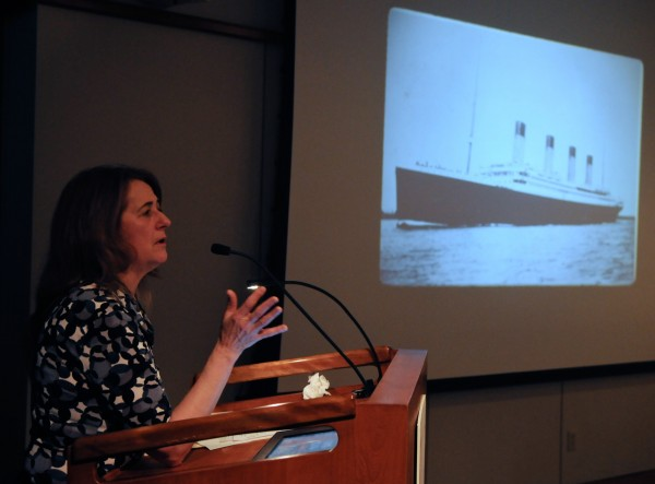 Author and St. Joseph's College Professor of Education Karen Marks Lemke speaks about the ill-fated Titanic at the Maine Historical Society on Tuesday, April 10, 2012. The ship sank 100 years ago this week.
